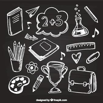 Creatieve schoolelementen in schoolbordstijl