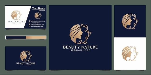Creatieve schoonheid vrouw kapsalon combineren met natuur concept, logo en visitekaartje