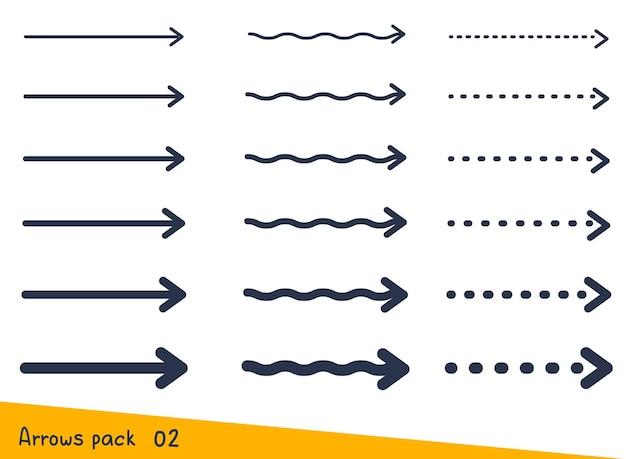 Creatieve set van verschillende pijl die rechtdoor beweegt
