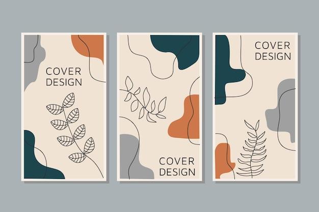 Creatieve set vector van sociale media verhalen lijntekeningen tropische bladeren warme kleur van de aardetoon
