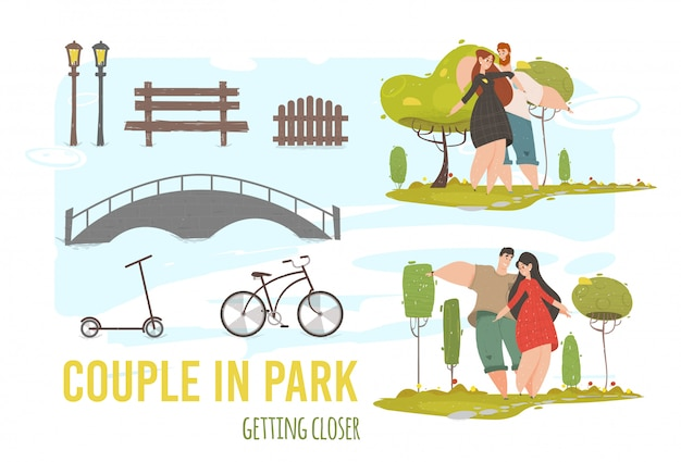 Creatieve set verliefde paar wandelen in het stadspark.