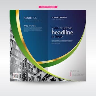 Creatieve sjabloon blauwe en gouden vorm folder of brochure ontwerpsjabloon