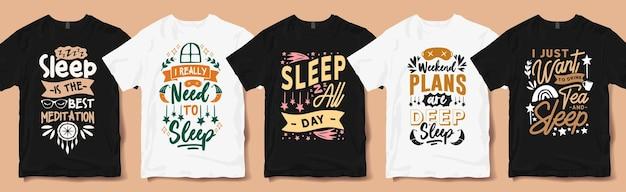 Creatieve slaap citeert typografie hand belettering t-shirt ontwerpen pack. slaapliefhebber citaat