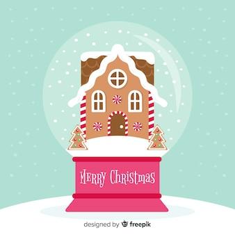 Creatieve sneeuwbalbol met kerstmisconcept