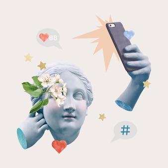 Creatieve social media blogger griekse standbeeld media mix post
