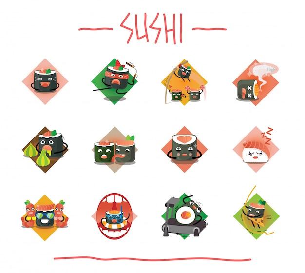 Creatieve sushi-set met verschillende emoties en acties