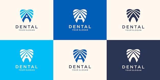 Creatieve tandheelkundige kliniek logo vector. abstracte tandheelkundige symboolpictogram met moderne designstijl.