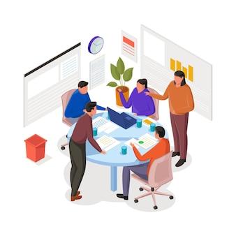 Creatieve teamvergadering en brainstormen isometrische illustratie