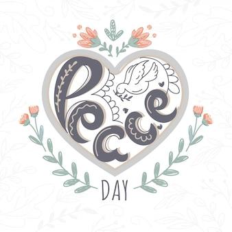Creatieve tekst vredesdag met lijntekeningen duif op hart vorm achtergrond versierd bloemen.