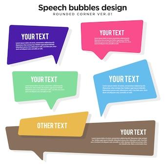 Creatieve tekstballon afgeronde hoek illustratie