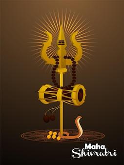 Creatieve trishul van lord shiva voor maha shivratri