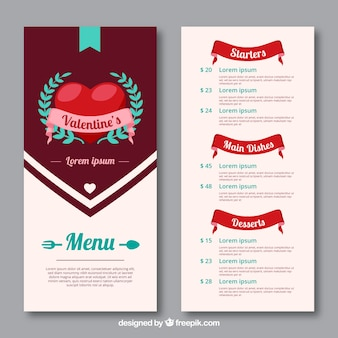 Creatieve valentijn menu concept