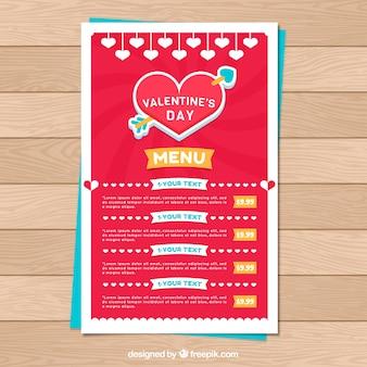 Creatieve valentijn menusjabloon
