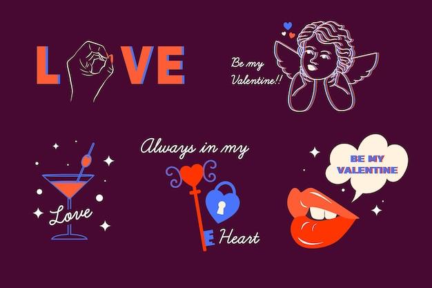 Creatieve valentijnsdag elementen