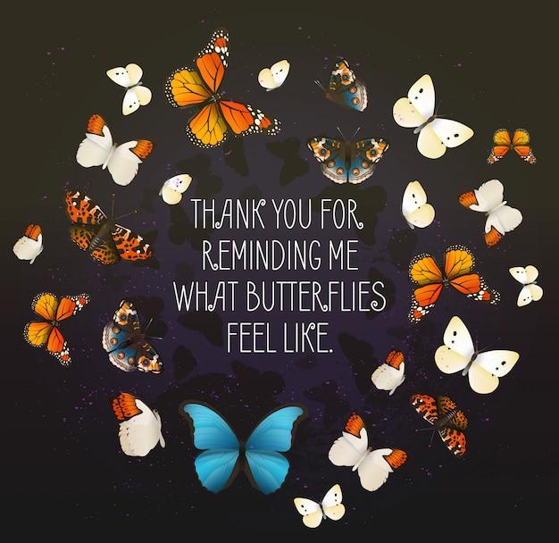 Creatieve vector inspirerende kaart met vliegende vlinders in een cirkel. romantische avond achtergrond.