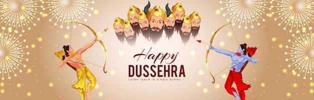 Creatieve vectorillustratie van happy dussehra viering wenskaart