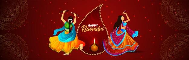 Creatieve vectorillustratie van happy navratri viering banner