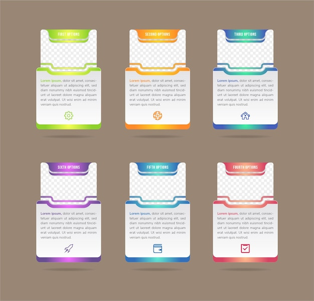 Creatieve vectorillustratie van infographic bedrijf sjabloon geïsoleerd op achtergrond foto tijdelijke aanduidingen art design abstract concept proces diagram grafisch element met rechthoek hoofdvorm Premium Vector