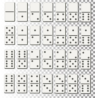Creatieve vectorillustratie van realistische domino volledige set geïsoleerd op transparante achtergrond domino...