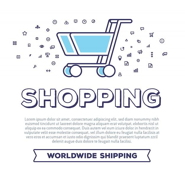 Creatieve vectorillustratie van winkelwagentje met woordtypografie en wolk van lijnpictogrammen op witte achtergrond. online betalingstechnologie