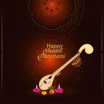 Creatieve veena voor een gelukkig indiase festivalviering van vasant panchami