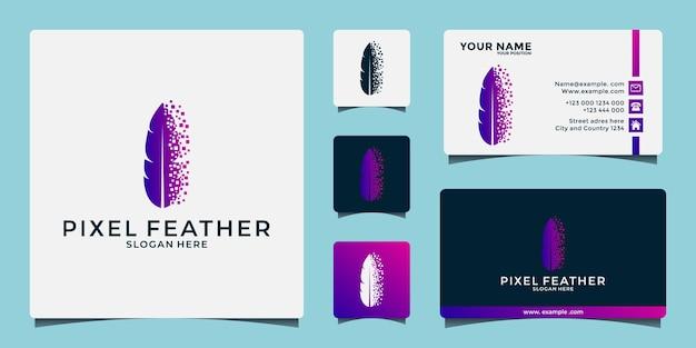 Creatieve veren tech logo ontwerpsjabloon voor uw bedrijf