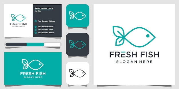 Creatieve verse vis logo ontwerp inspiratie met lijn kunst concept. logo en visitekaartje