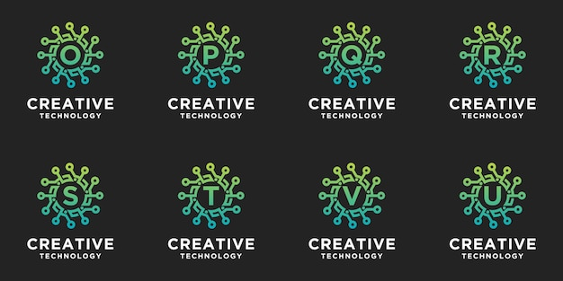 Creatieve verzameling logo's in zeshoekige stijl