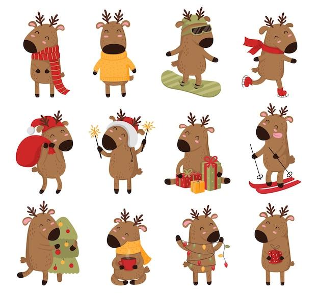 Creatieve verzameling schattige herten voor kerstmis en nieuwjaar schattige herten