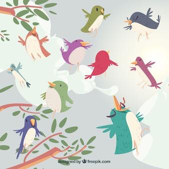 Creatieve vliegende vogels achtergrond