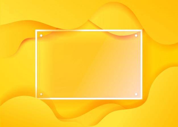 Creatieve vloeiende poster met transparant glazen frame voor een tekst. vector sjabloon voor web, print, magazine, landing, party, promo ontwerp