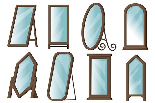 Creatieve vloerspiegels met houten frames platte item set.