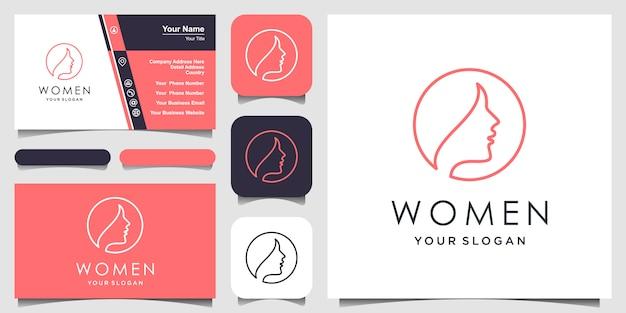 Creatieve vrouw met lijn kunststijl. logo en visitekaartje ontwerp, hoofd, gezicht logo geïsoleerd. gebruik voor schoonheidssalon, spa, ontwerp van cosmetica, enz