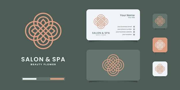 Creatieve vrouwelijke schoonheidssalon en spa met logo in lijnstijlvorm met minimalistisch blad.