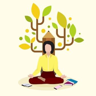 Creatieve vrouwelijke schrijver, auteur zittend op potlood achtergrond en boek, volume, illustratie. meditatie romanschrijver vrouw karakter.