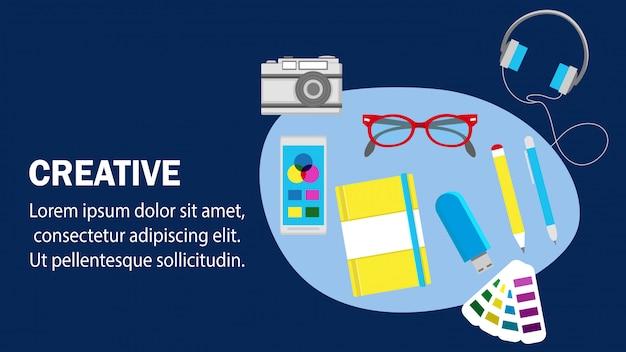 Creatieve website platte banner vector sjabloon.
