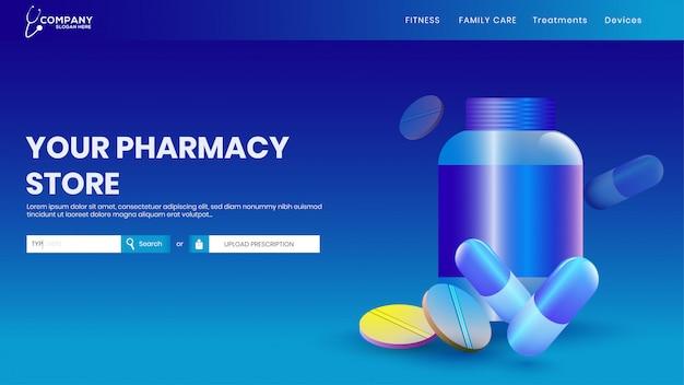 Creatieve websjabloon lay-out met medicijnen voor de gezondheid.