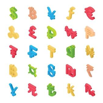 Creatieve weergave van valutapictogrammen
