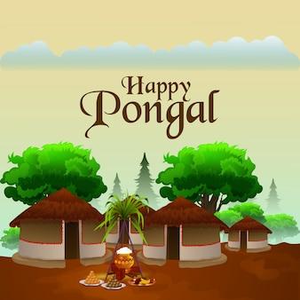 Creatieve wenskaart met suikerriet en religieuze achtergrond voor happy pongal