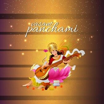 Creatieve wenskaart voor vasant panchami-viering