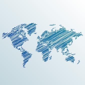 Creatieve wereld kaart gemaakt met krabbelen
