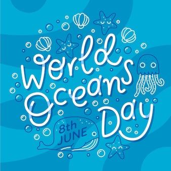 Creatieve wereld oceaan dag belettering
