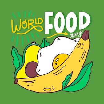 Creatieve wereldvoedseldag belettering met geïllustreerde gezonde maaltijd