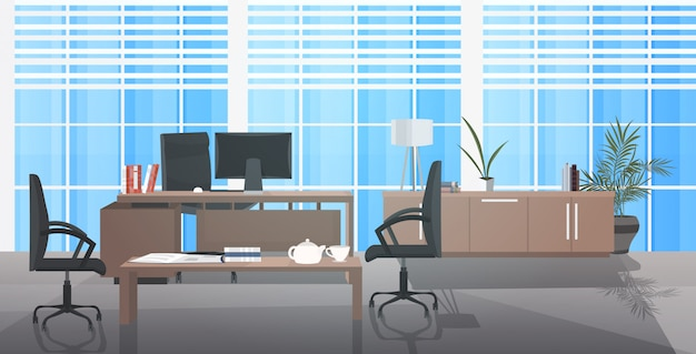Creatieve werkplek leeg geen mensen kast met meubels modern kantoor interieur horizontaal