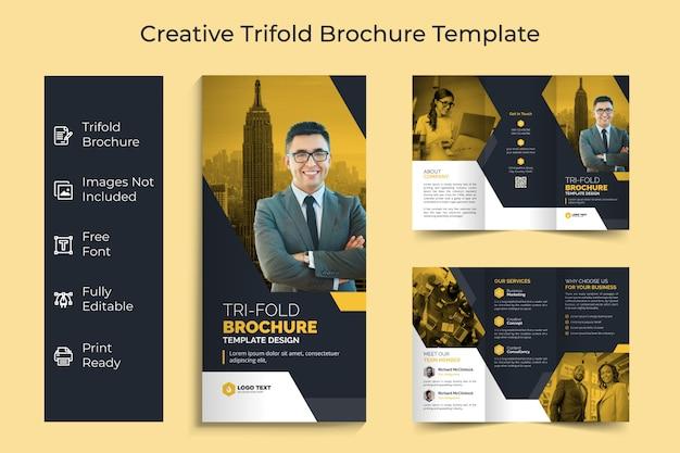 Creatieve zakelijke driebladige brochure sjabloonontwerp