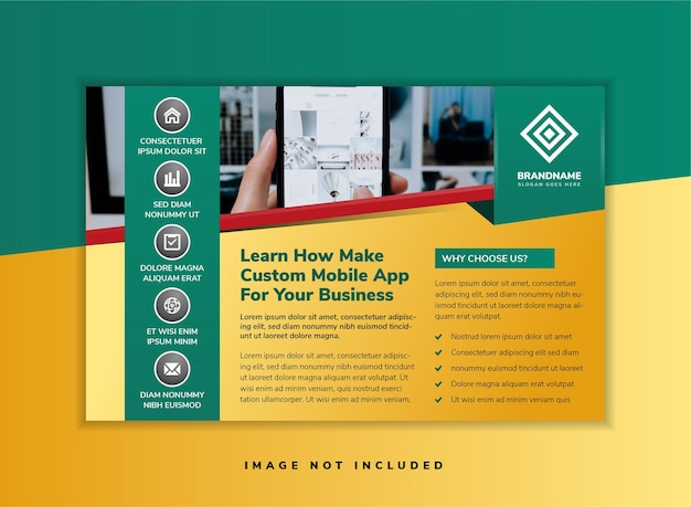 Creatieve zakelijke mobiele app zakelijke brochure flyer ontwerp a4 sjabloon horizontale flyer