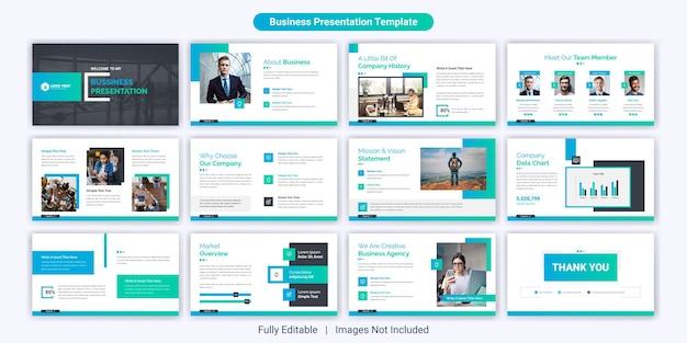 Creatieve zakelijke powerpoint-presentatiedia-sjabloonontwerpset