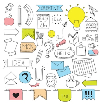 Creatieve zaken als thema in doodle stijl vectorillustratie