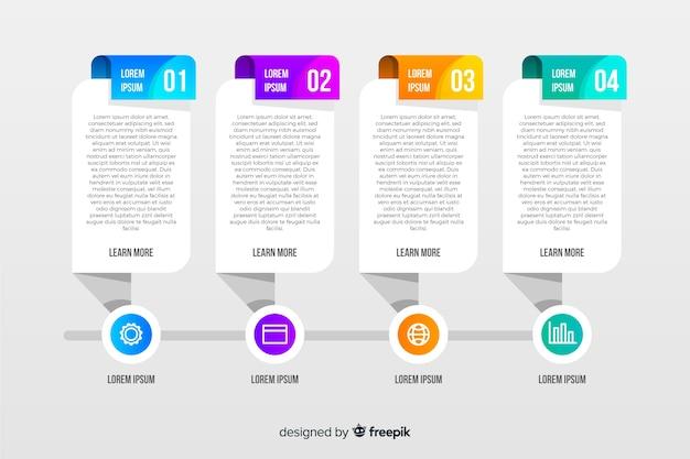 Creatieve zaken infographic in stappenstijl