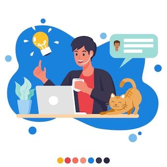 Creatieve zakenman die via videoconferentie thuis met zijn kat werkt.